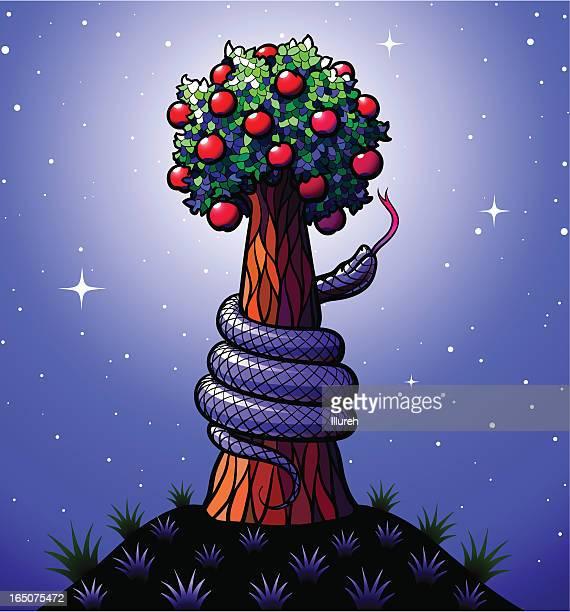 ilustraciones, imágenes clip art, dibujos animados e iconos de stock de árbol de conocimientos bien y el mal - los siete pecados capitales