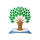 Tree of knowledge symbol. Open book and tree.