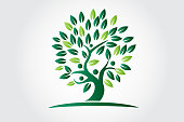 Tree of life ecology and people figures icon