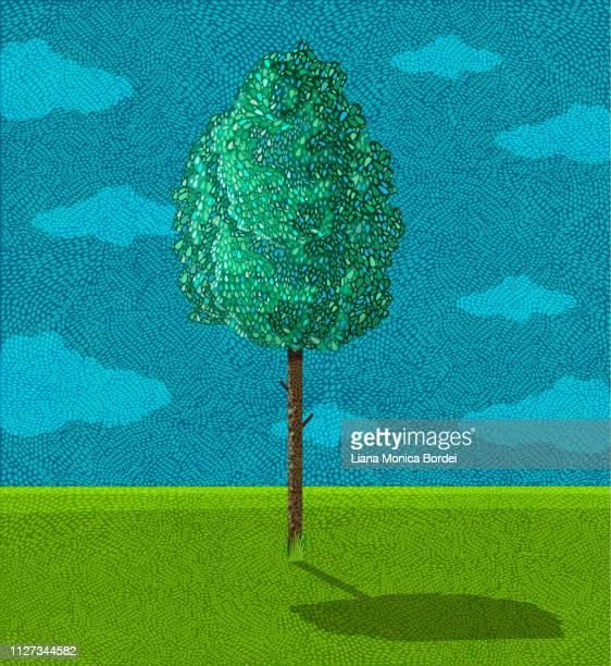 tree of life - deciduous tree stock illustrations, clip art, cartoons, & icons
