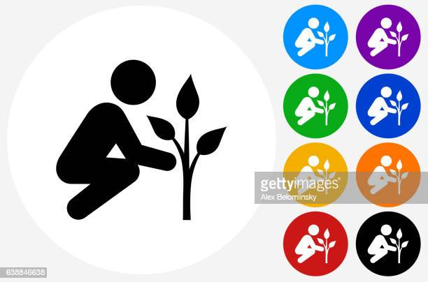 Tree Planting Icon on Flat Color Circle Buttons