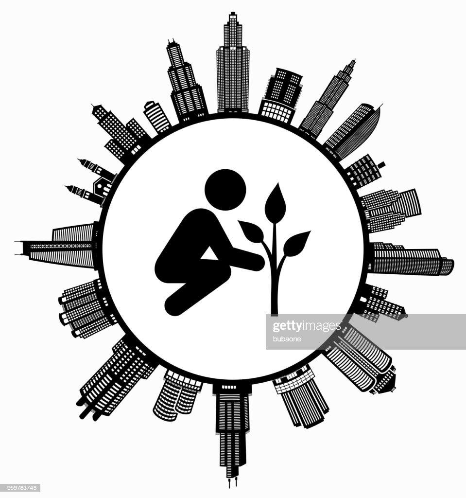 Baumpflanzung im modernen Stadtbild Skyline Hintergrund : Stock-Illustration