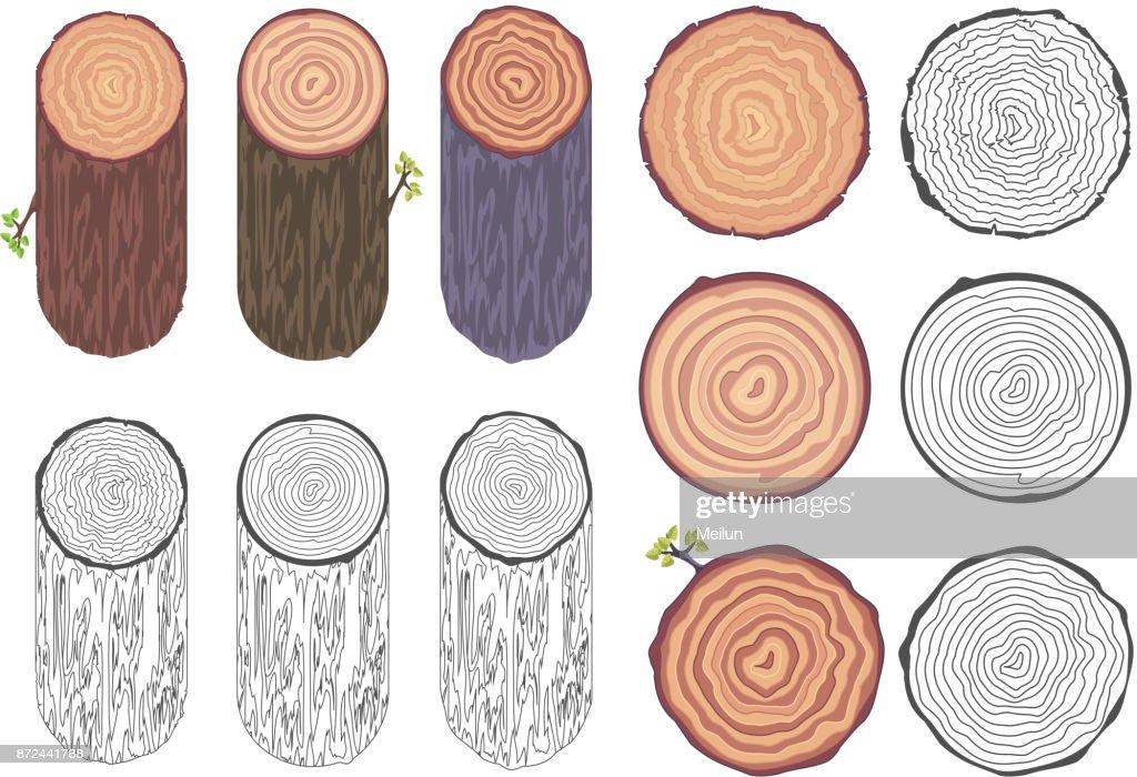 Tree rings saw cut tree trunk barrel bark natural decorative design elements set vector illustration
