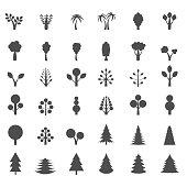 Tree silhouette set