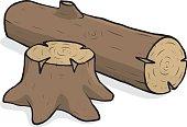 tree stump and wood log
