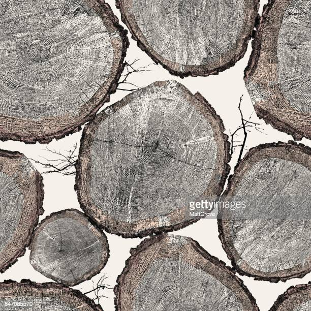 tree trunk repeat pattern - tree trunk stock illustrations, clip art, cartoons, & icons