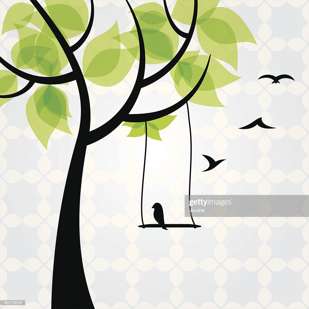 Tree with  birds, vector - Illustration