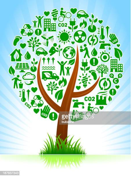 tree with green energy buttons - plant attribute stock illustrations, clip art, cartoons, & icons