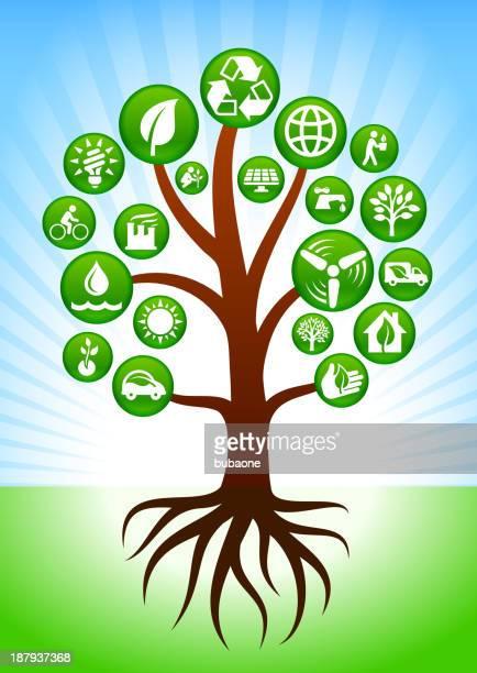 Árvore com botões de energia verde