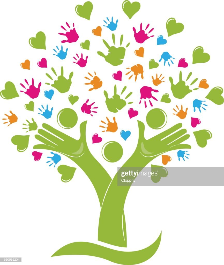 Tree with hands and hearts family figures icon