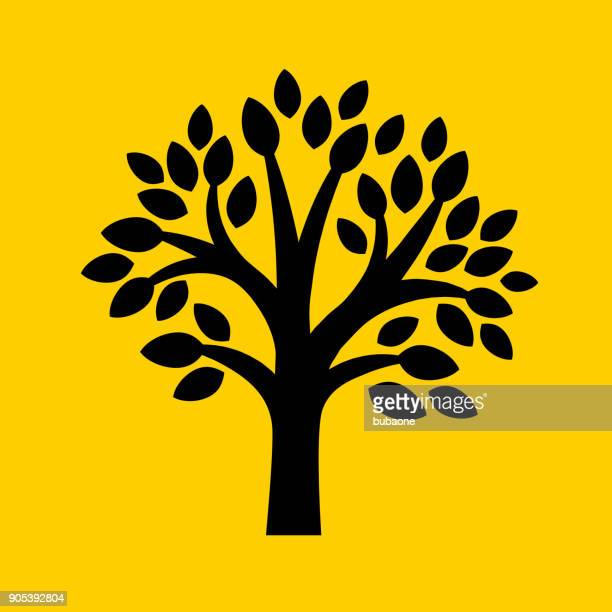 tree with leaves. - tree roots stock illustrations, clip art, cartoons, & icons