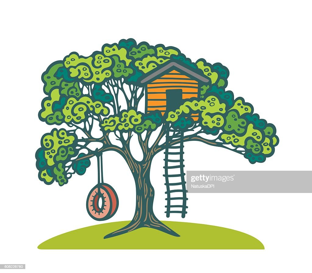 Tree with playhouse and swing.