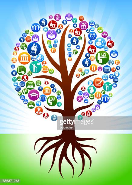 Tree with Roots E-learning and College Education Vector Button Pattern