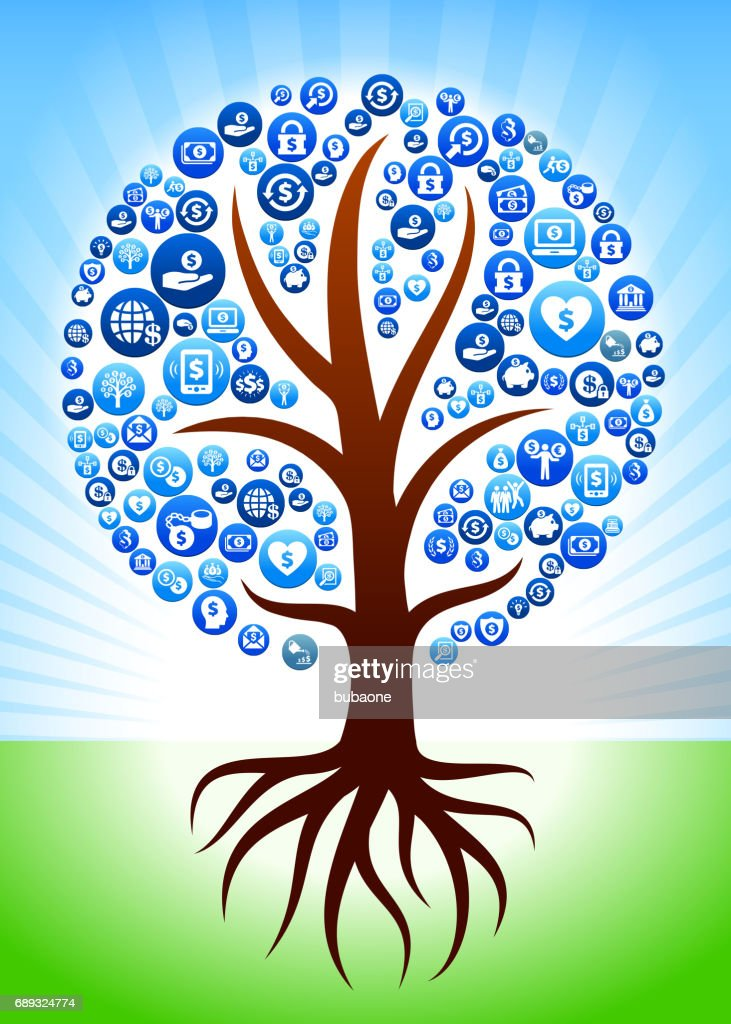 Tree with Roots Money Dollar and Finance Vector Button Pattern : Stock Illustration