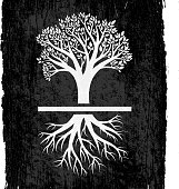 Tree with Roots on Black royalty free vector Background