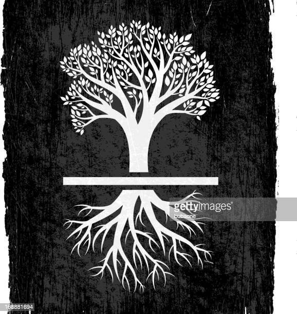 tree with roots on black royalty free vector background - ancestry stock illustrations, clip art, cartoons, & icons