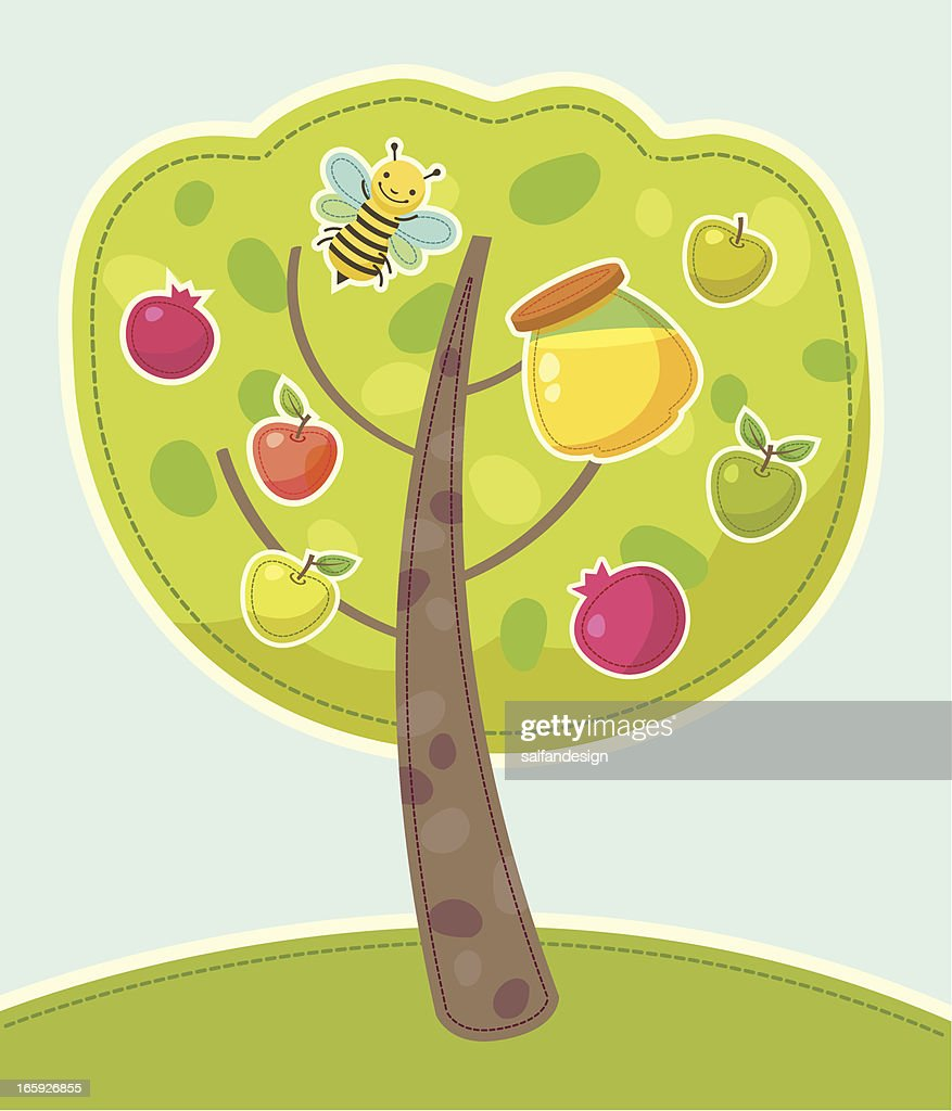 Tree with traditional symbols of jewish new year vector art tree with traditional symbols of jewish new year vector art biocorpaavc