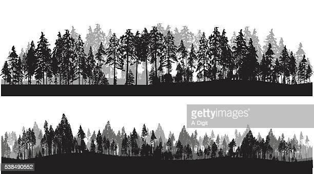 treeline header - panoramic stock illustrations