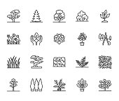 Trees flat line icons set. Plants, landscape design, fir tree, succulent, privacy shrub, lawn grass, flowers vector illustrations. Thin signs for garden store. Pixel perfect 64x64. Editable Strokes
