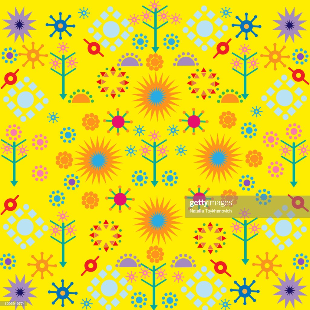 trees flowers patterns colored symbols ornament on yellow background