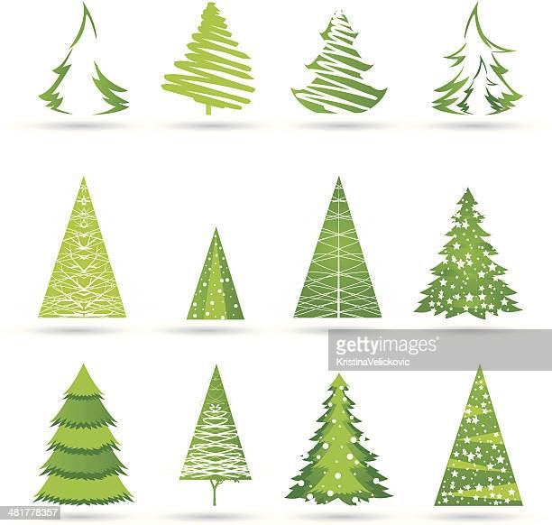 trees icons - evergreen stock illustrations