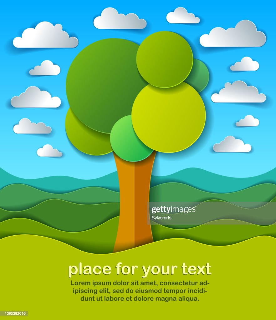 Trees in the field scenic nature landscape cartoon modern style paper cut vector illustration.