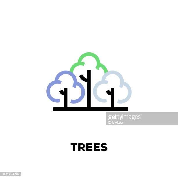 木行アイコン - 樹木点のイラスト素材/クリップアート素材/マンガ素材/アイコン素材