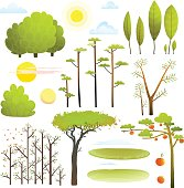 Trees nature landscape objects clip art collection