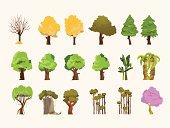 Trees Set I - vector Illustration