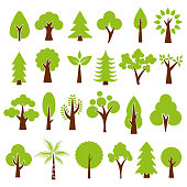 trees set isolated on white background , vector illustration.