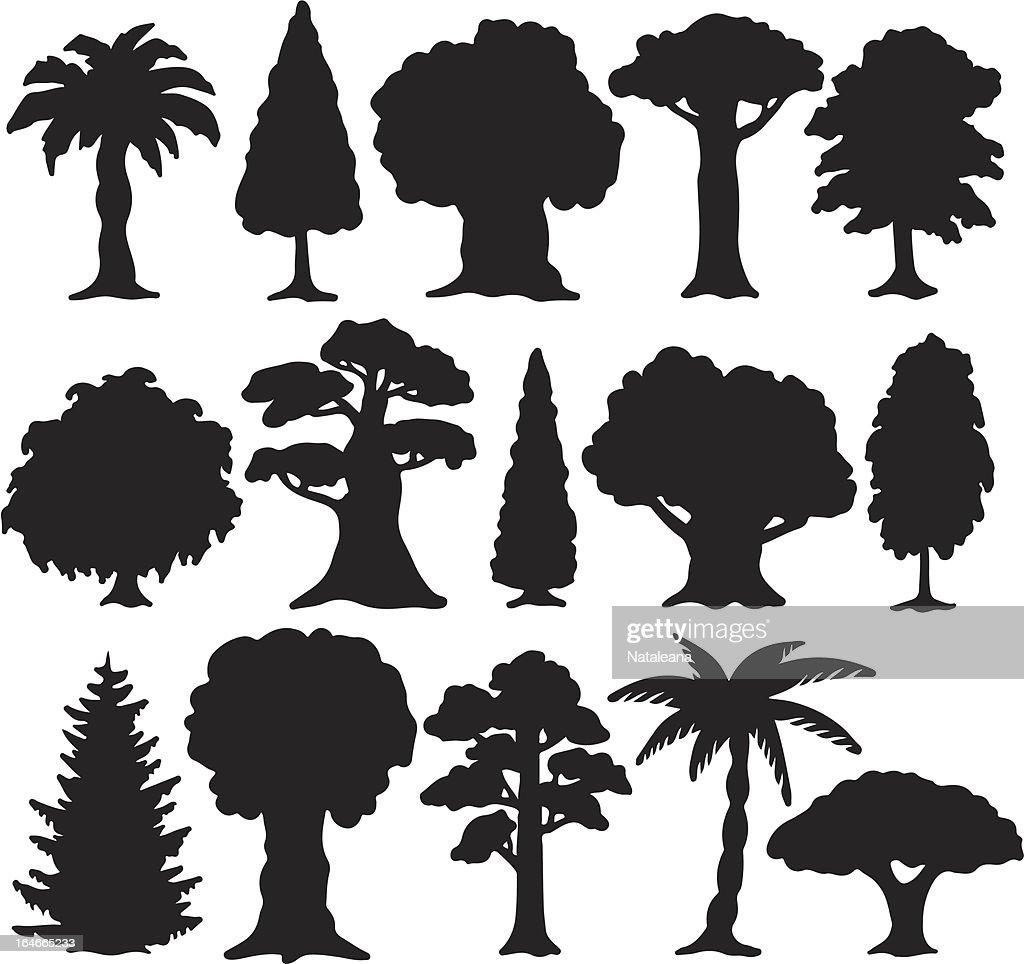 Trees set of black silhouette