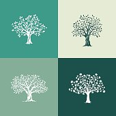 trees silhouette set