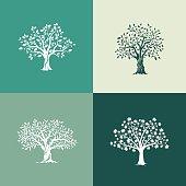 trees silhouette set