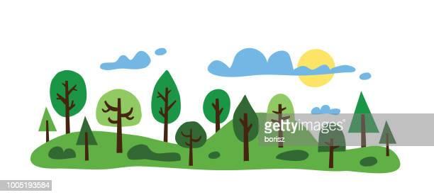 trees - treelined stock illustrations, clip art, cartoons, & icons