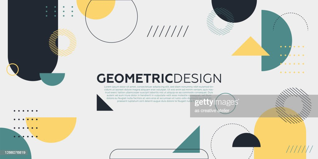 Fundo geométrico de arte abstrata da moda com estilo plano e minimalista. Pôster vetorial. : Ilustração