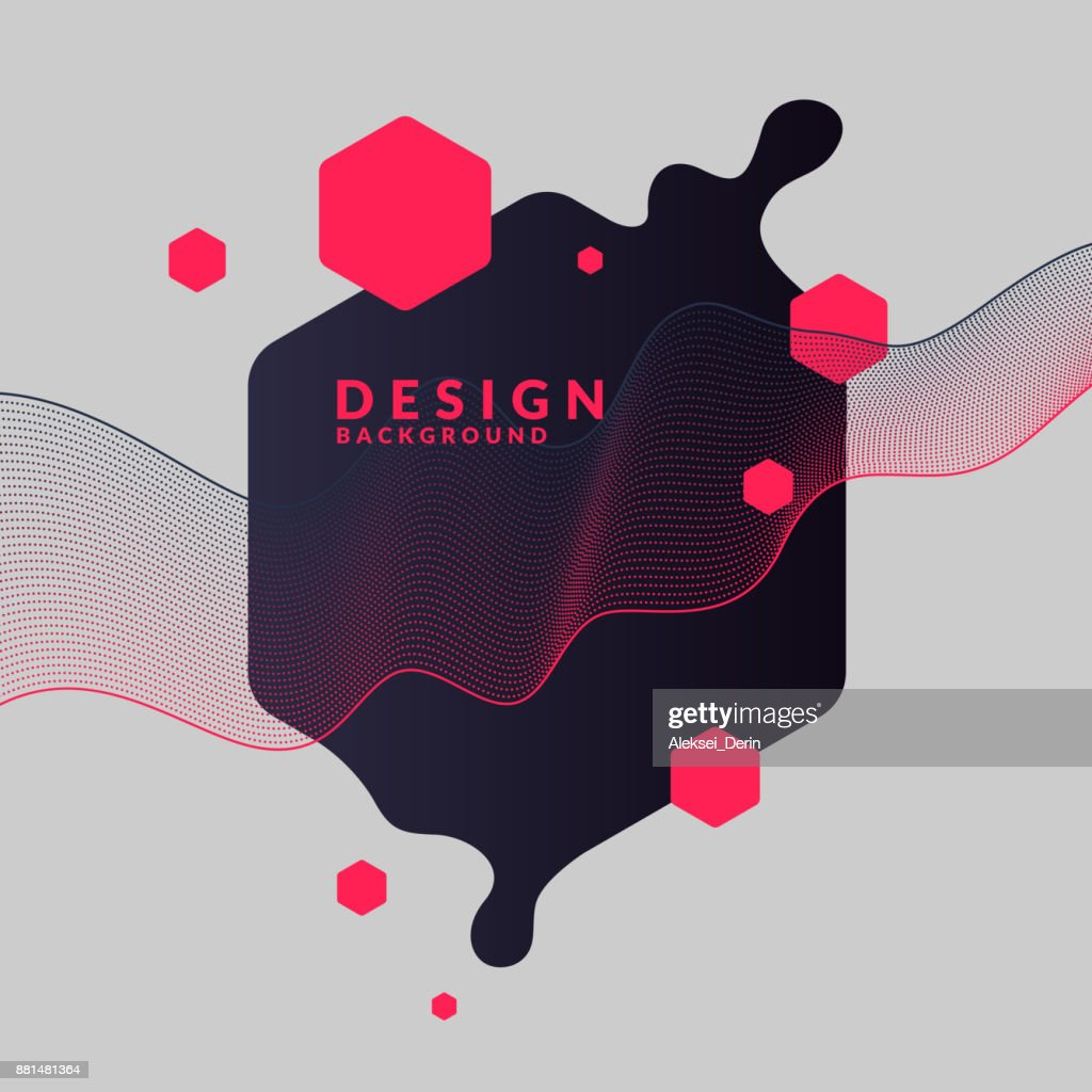 Trendy abstract background. Composition of geometric shapes and splash