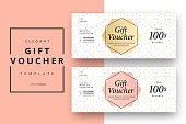 Trendy abstract gift voucher card templates. Modern discount coupon or certificate layout with artistic stroke pattern. Vector fashion bright background design with information sample text.