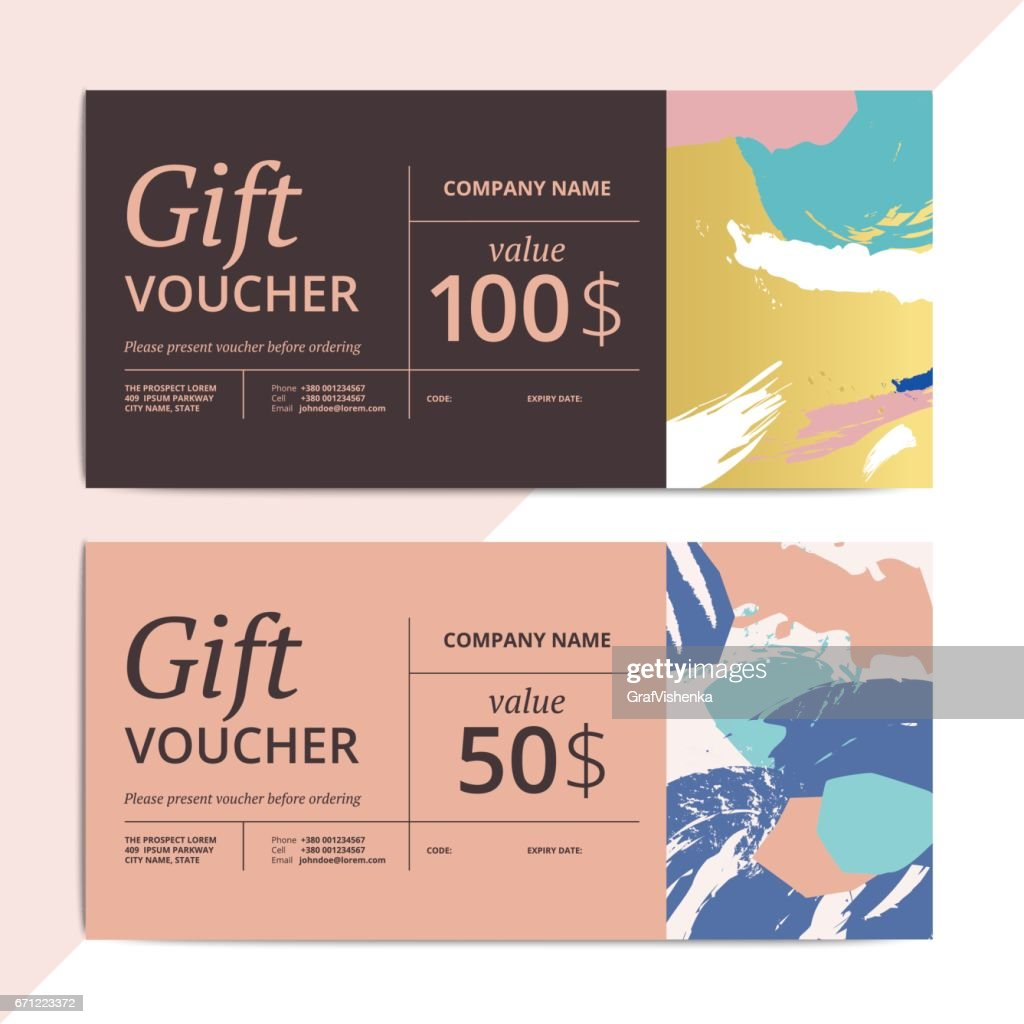Trendy abstract gift voucher card templates.