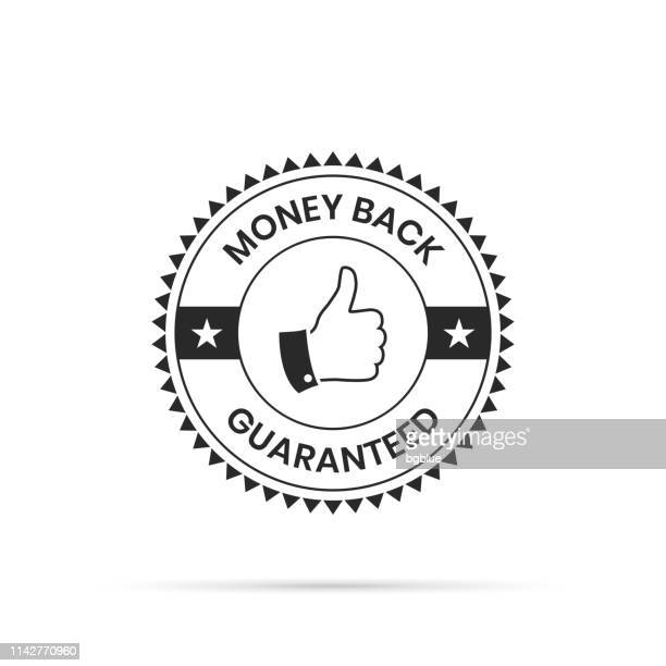 illustrazioni stock, clip art, cartoni animati e icone di tendenza di trendy badge (outline, line art) - money back guaranteed - affidabilità