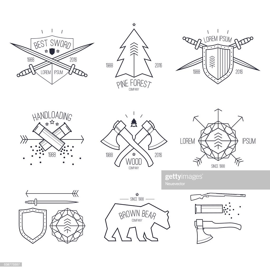 Trendy badges in thin line style