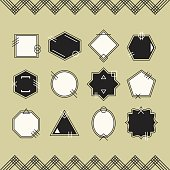 Trendy black and white line blank emblems set on beige background with black line chevron pattern framing
