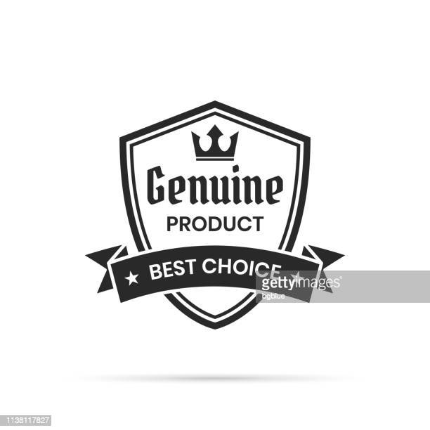 trendy black badge - genuine product, best choice - shield stock illustrations