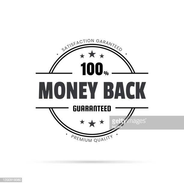 illustrazioni stock, clip art, cartoni animati e icone di tendenza di badge nero alla moda - money back, garantito al 100% - affidabilità