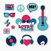 Trendy british musical patches, stickers and pins