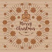 Trendy Christmas card, Xmas Angel, Kraft paper, Sunbursts Line Art