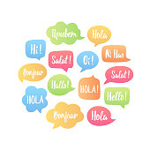 Trendy color speech bubbles set with word hello in different languages