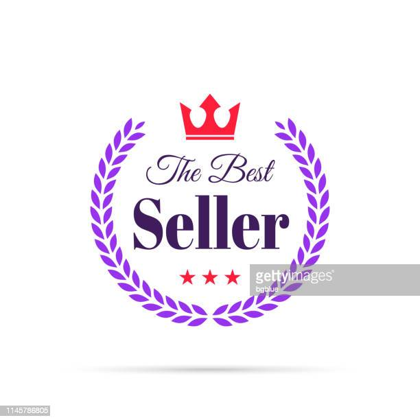 trendy colorful badge - the best seller - insignia stock illustrations