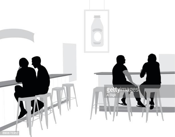 trendy diner - stool stock illustrations, clip art, cartoons, & icons