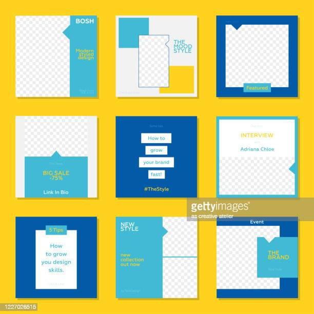 trendy editable template for social networks stories and posts. yellow and blue color concept. - auto post production filter stock illustrations