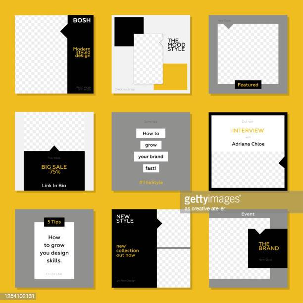 trendy editable template for social networks stories and posts. yellow and black color concept. - auto post production filter stock illustrations